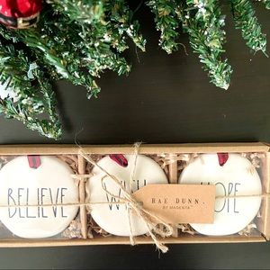 Rae Dunn 'WISH HOPE BELIEVE' Christmas Ornaments